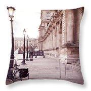 Paris Louvre Museum Street Lamps Bicycle Street Photo - Paris Romantic Louvre Architecture  Throw Pillow