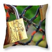 Paris Love Lock Throw Pillow