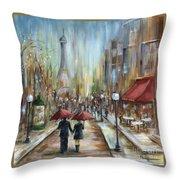 Paris Lovers Ill Throw Pillow