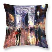 Paris Miting Point Arc De Triomphie Throw Pillow