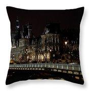 Paris Night Along The Seine Throw Pillow