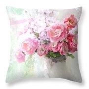 Paris Peonies Roses Shabby Chic Art - Romantic Paris Peonies And Roses Impressionistic Floral Art Throw Pillow