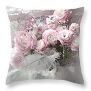 Paris Pink Impressionistic French Roses And Ranunculus - Shabby Chic Romantic Pink Flowers Throw Pillow