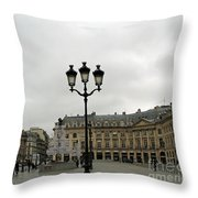 Paris Place Vendome Architecture Monuments Street Lamps And Buildings  Throw Pillow