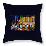 Paris-recruitement Cafe - Palette Knife Oil Painting On Canvas By Leonid Afremov Throw Pillow