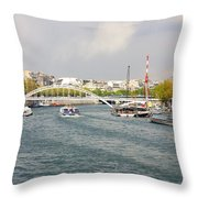 Paris River Cityscape Throw Pillow
