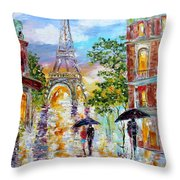 Paris Romance Throw Pillow