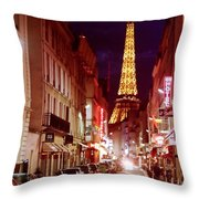 Paris Romantic Night Lights Throw Pillow
