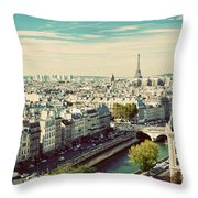 Paris Skyline France. Eiffel Tower Throw Pillow