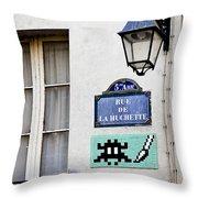 Paris Street Art - Space Invader Throw Pillow