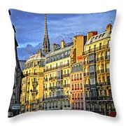 Paris Street At Sunset Throw Pillow by Elena Elisseeva