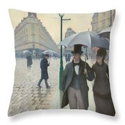Paris Street In Rainy Weather Throw Pillow