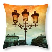 Paris Street Lamps With Textures And Colors Throw Pillow