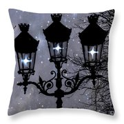 Paris Street Lights Lanterns - Paris Starry Night Dreamy Surreal Starlit Night Street Lamps Of Paris Throw Pillow by Kathy Fornal