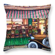 Paris Street Market Throw Pillow
