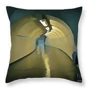Paris Subway Connecting Tunnel Throw Pillow