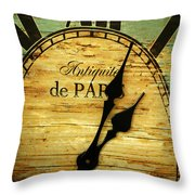 Paris Time Throw Pillow