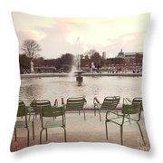 Paris Tuileries Garden Park Fountain Green Chairs - Paris Autumn Fall Tuileries - Autumn In Paris Throw Pillow