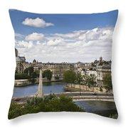 Paris View Notre Dame Throw Pillow