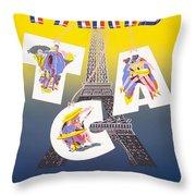 Paris Vintage Travel Poster Throw Pillow