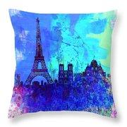 Paris Watercolor Skyline Throw Pillow