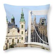 Parish Church And Elizabeth Bridge In Budapest Throw Pillow