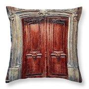 Parisian Door No. 8 Throw Pillow