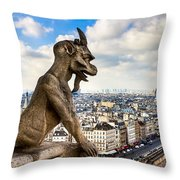 Parisian Gargoyle Admires The Skyline Throw Pillow