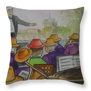 Parisian Hat Band Across From Notre Dame Cathedral Throw Pillow