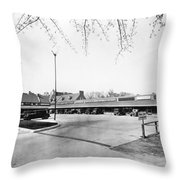 Park & Shop Early Strip Mall Throw Pillow