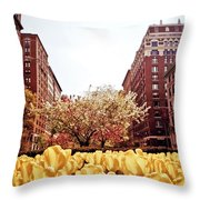 Park Avenue In The Spring  Throw Pillow