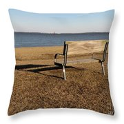 Park Bench At Sandy Point Throw Pillow