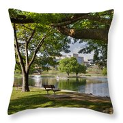 Park Bench By A Lake Throw Pillow
