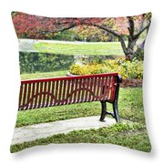 Park Bench By The Pond Throw Pillow