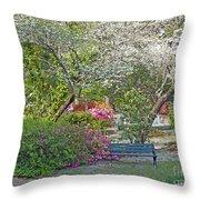 Park Bench Painting Throw Pillow