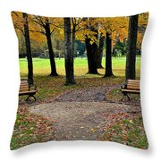 Park Bench Throw Pillow