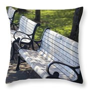 Park Benches At Portland Waterfront Park Throw Pillow