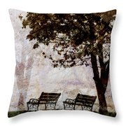 Park Benches Square Throw Pillow