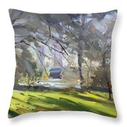 Park By Niagara Falls River Throw Pillow