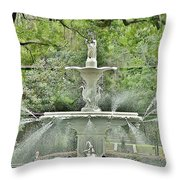 Forsyth Park Fountain - Savannah Georgia Throw Pillow