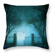Park Gates At Night In Fog Throw Pillow