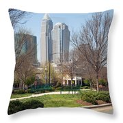 Park In Uptown Charlotte Throw Pillow