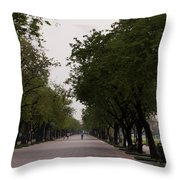 Park Leading To The King Of Thailands Palace Throw Pillow