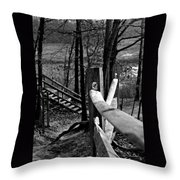 Park Trail Bw Throw Pillow