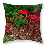 Parked Red Bicycle Throw Pillow