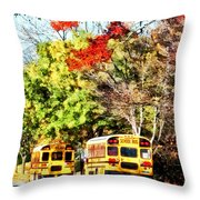 Parked School Buses Throw Pillow