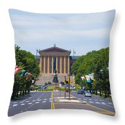 Parkway View Of The Museum Of Art Throw Pillow