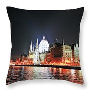 Parliament And The Danube Throw Pillow