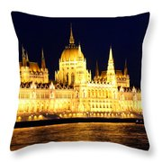 Parliament Building At Night In Budapest Throw Pillow