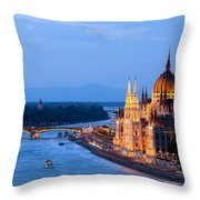 Parliament Building In Budapest At Evening Throw Pillow